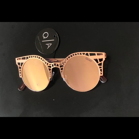531e777393 Quay Rosegold Fleur Round Cat Eye Sunglasses